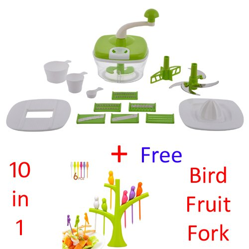 Jony 10_in_1_Green Manual Food Processor (Green) by A TO Z Sales-AZ5021 With Bird Fruit Fork