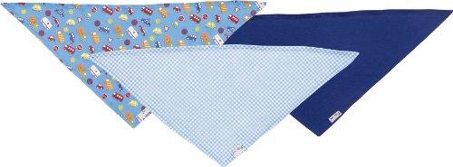 Playshoes Baby - Jungen Halstuch Dreieckstuch Auto, 3Er Pack, Reine Baumwolle, Maße Ca. 60X30 Cm, Oeko-Tex Standard 100, Gr. One Size, Blau (Original)