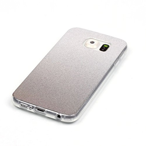 TPU Coque Galaxy S6,Housse Slim Coque Transparent Etui, Case Souple TPU Bumper Protective Cover Skin, Crystal Clear Couverture Arrière Etui de Protection Case Anti Rayure Anti Choc pour Samsung Galaxy S6 +Bouchons de poussière (13RR)