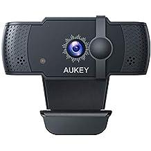 AUKEY 5 PM 1080p Webcam Autofocus con Microfonos de Reducción de Ruido, Full HD USB Webcam para Videoclamada y Grabación de Pantalla Ancha, Zoom, XSplit, Skype, Conferencia