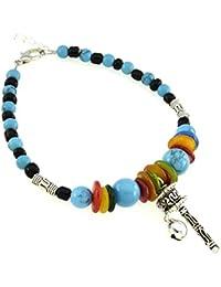 Bracelet charms et perle - Bijou fantaisie ethnique - Moulin à prières -  Bleu - Picca - Cadeau Femme pas cher - Mes Bijoux… bbe7c958d102