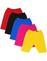 GOODTRY Girls Cotton Cycling Shorts Pack of 5-Multicolor
