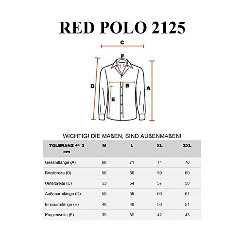 BOLF - Chemise casual - à manches longues – à carreaux – RED POLO 2125 - Homme Rouge-Bleu foncé
