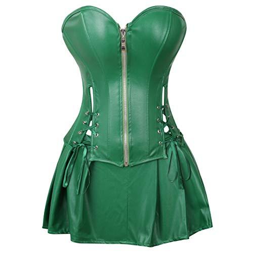 Kranchungel Gothic Corsagenkleid Faux Leder Corsage mit Rock Korsagenkleid 6X-Large Grün
