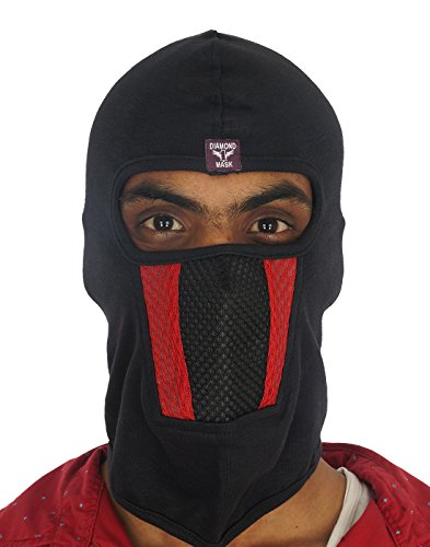 Dhoom3 Full BlkRedBlk Lines Bike Riders Full Face Mask Wit Woven Liner, Head Gear, Under Helmet (Black:Red:Black)  available at amazon for Rs.210