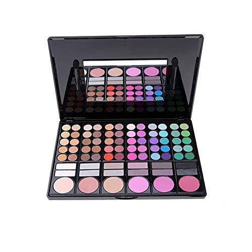 JWR Lidschatten-Palette Kosmetik-Make-up-Set 2 Pinsel 78 Farben