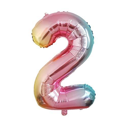 Mitlfuny Auto-Modell Plüsch Bildung Squishy Spielzeug aufblasbares Spielzeug im Freien Spielzeug,40-Zoll-Regenbogen-Steigungsnummer 0-9 Folien-Digital-Ballone für Geburtstagsfeier