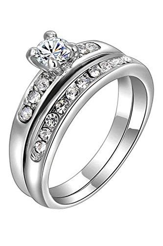 Anillo - SODIAL(R)2 piezas Mujer Plateado Diamante de imitacion Aleacion Varios Anillos de Parte de la boda Romantico (Plata, EE.UU. 6)
