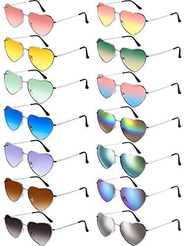 14 Stück Herz Sonnenbrillen Metallrahmen Schöne Herz Farbige Sonnenbrille (Silber Rahmen)