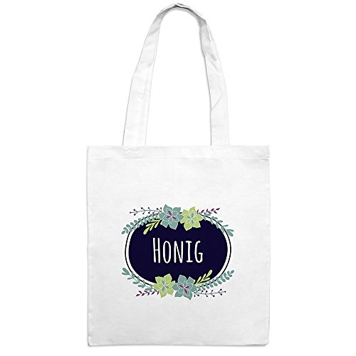 Jutebeutel mit Namen Honig - Motiv Flowers - Farbe weiß - Stoffbeutel, Jutesack, Hipster, Beutel (Honig Hipster)