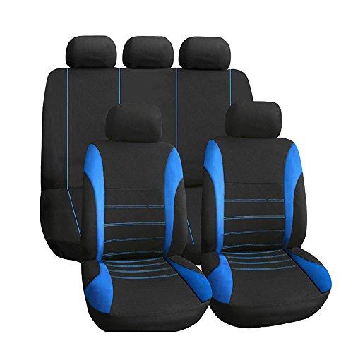 KKmoon Set Coprisedili Universale per Auto, 9 Pezzi Pieghevole Cuscino Sedile, Blu