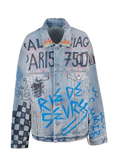 Balenciaga Damen 558824TXE084773 Hellblau Baumwolle Jacke 10