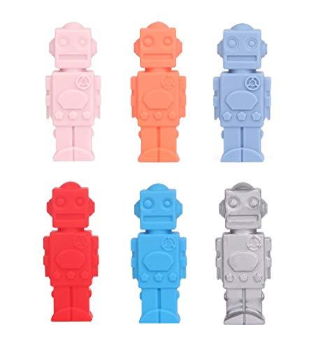 Silikon-Kautabletten im 6er-Pack - FDA-geprüft, robotergeformt - Perfekt für Baby-Kinderkrankheiten, Kinder-Kautabletten, Therapiespielzeug, Kautuben, Zappeln, Kautabletten für Mundmotoren -