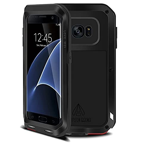 Samsung Galaxy S7 Edge Metal Etui - Love Mei Metal Etui Housse Coque Rigide Cover Verser Samsung Galaxy S7 Edge Noir
