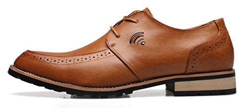 DADAWEN Homme Mode Casual British Style Leather Chaussure Jaune