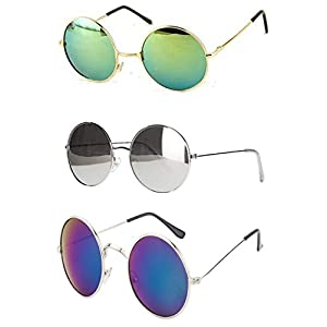 Younky Uv Protected Combo Of 3 Round Men's, Women's, Boy's, Girl's Sunglasses - (Ynk-Rgrn-Rslvr-Rblu|55|Silver)