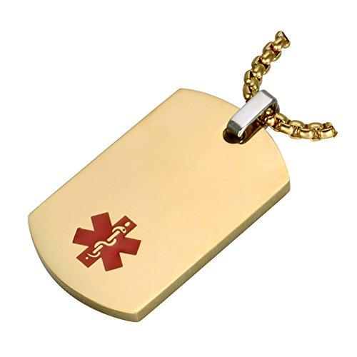 BBX JEWELRY Alerta Médica Joyas Grabado Medic ID Colgante para Hombres Mujeres,...