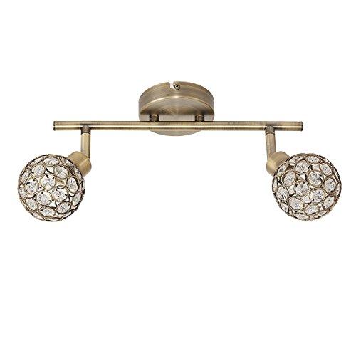 Bloc Finition en cuir avec deux spots orientables Ensemble de cristal lampes G9. spots pivotants