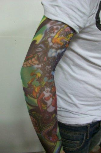 Fake Tattoo Arm Sleeve Kunst Vorübergehend Skull Snake Devil Bat (T3)