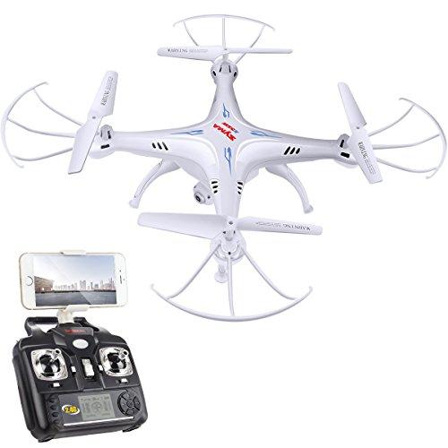 Dodoeleph syma x5sw 2.4ghz 4ch 6 axis gyro trasmissione in tempo reale fpv rc quadcopter drone quadricottero droni con hd modalità macchina fotografica (colore: bianco)