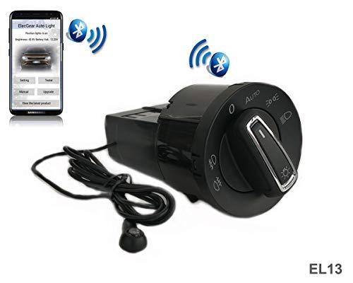 ElecGear EL13 Auto Lichtsensor Bluetooth App Lichtschalter, KFZ Scheinwerferschalter Hauptlichtschalter Nebelscheinwerfer, Coming Leaving Home Modul - A4 B6 B7 S4 Quattro (8E0941531A)