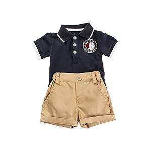 FELZ Ropa Bebe Niño Niña Verano Recién Nacido 3 Meses a 2 Años Botón de Caballero Camiseta de Manga Corta + pantalón… 16