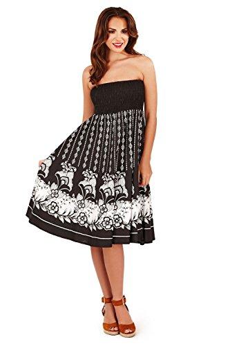 Damen Pistachio Punkte Blumenmuster 2 In 1 Kleid Oder Rock Damen Sommer Urlaub Midi Schwarz