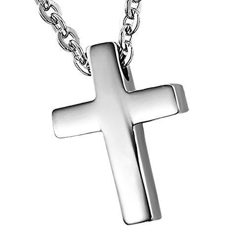 Cupimatch Muttertagsgeschenk Damen Kreuz Halskette, elegant Edelstahl Kruzifix Anhänger mit 45 Kette Kugelkette Halsband, Silber