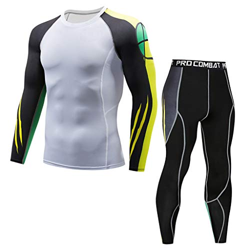 Price comparison product image Fitness Tops Mens,  HotsellMan Long-Sleeved T-Shirt Elastic Cool Dry Quickly Compression Baselayer Leggings Top Suit White