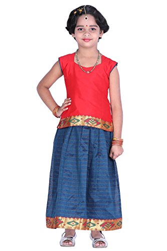 JISB Girl's Lehenga Choli,Pavadai sattai,color Red (4-5 Years)