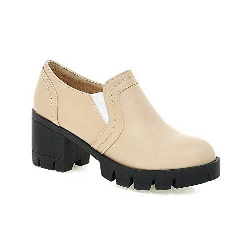 AllhqFashion Damen Weiches Material Elastic Band Rund Zehe Mittler Absatz Pumps Schuhe Cremefarben