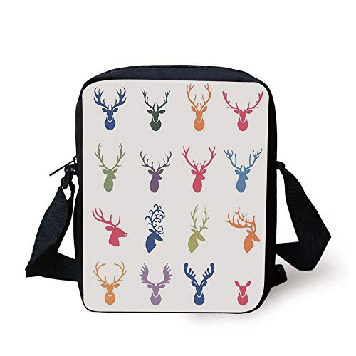 LULABE Antlers Decor,Collection of Various Reindeer Antlers Illustration Hunter Wild Life Decorative Decorative, Print Kids Crossbody Messenger Bag Purse