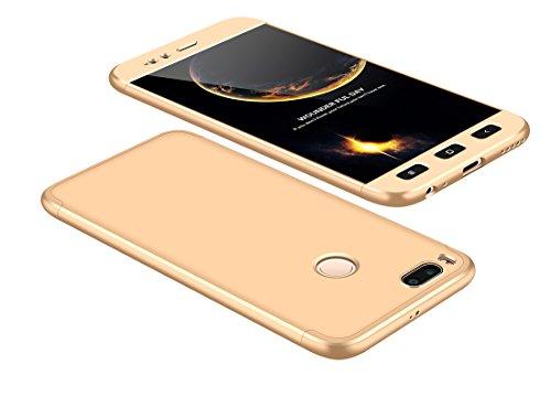 Funda Xiaomi Mi A1/Mi 5 X 360 Grados Oro Ultra Delgado Todo Incluido Caja del teléfono de la Protección 3 en 1 PC Case JOYTAG-Oro