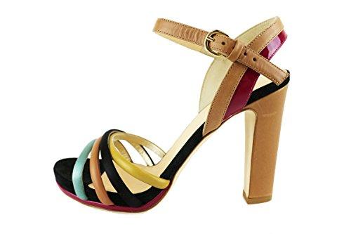 LELLA BALDI sandali donna multicolore pelle camoscio AH825 (38 EU)