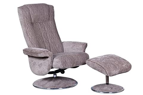 The Portia - Contemporary Fabric Recliner Swivel Chair & Footstool in Fudge