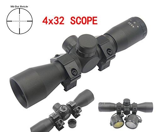 Huntiger Taktisch 4x32 absehen Zielfernrohr 223 .308 Jagd Gewehr Zielfernrohre mit Montage Mil-Dot Scope Fadenkreuz Optische Sichtung Optik Jagd - Werkzeuge Zielfernrohr Montage