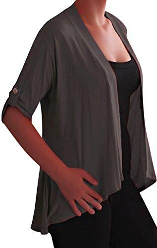Eyecatch - Gilet cardigan ouvert en jersey Grandes Tailles - Emily - Femme Charbon de bois