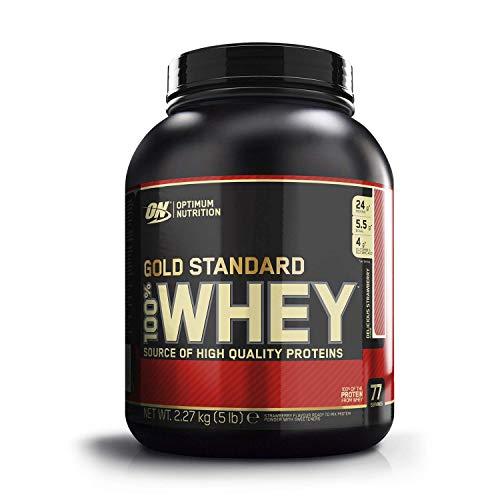 Optimum Nutrition ON Gold Standard Whey Protein Pulver, Eiweißpulver Muskelaufbau mit Glutamin und Aminosäuren, natürlich enthaltene BCAA, Strawberry, 77 Portionen, 2.27kg