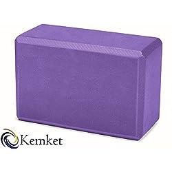 Kemket Yoga ladrillos de espuma para ejercicios de Pilates (Herramienta estiramiento ayuda, morado