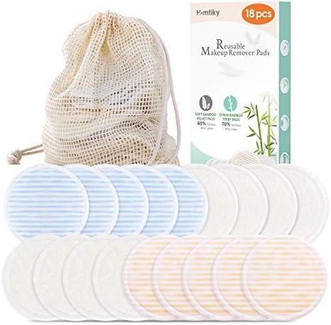 Homtiky Discos Desmaquillantes Reutilizables, 18 Discos Desmaquillantes naturales + Bolsita de lavado