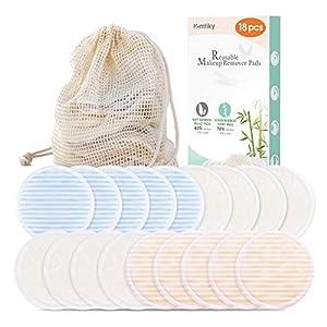 Waschbare Abschminkpads, 18 Wattepads aus Bambus & Samt mit Wäschebeutel, Hautfreundliche Wiederverwendbare Abschminktücher, Gesichtsreinigungspads Homtiky.