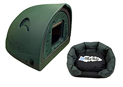 Petzpodz DOG POD with removeable front flap insert MEDIUM designer green plastic dog crate, cave & den, dog kennel house dog home and igloo for indoor and outdoor use