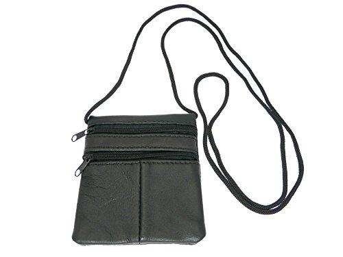 tchwork Leder Tasche für Hals/ID-Halter, 2 Fächer mit Reißverschluss, 1 Transparentes Sichtfenster (Um Den Hals Id-halter)