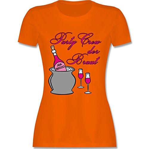 JGA Junggesellinnenabschied - Party Crew der Braut Sekt Party - tailliertes Premium T-Shirt mit Rundhalsausschnitt für Damen Orange