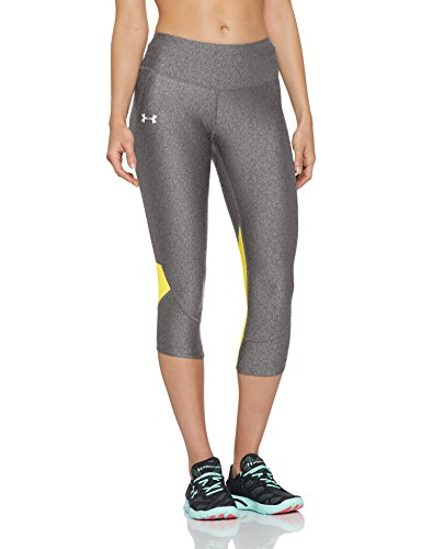 Under Armour Armour Fly Fast Capri Leggings, Mujer, Gris (Charcoal Light Heather/Tokyo Lemon/Reflective 019), S