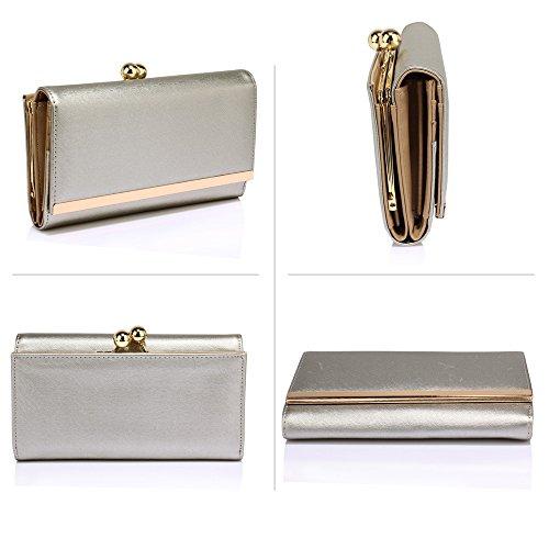 Trend Star Ladies Fashion Designer Ladies Qualità Imitare Borse In Pelle Portafoglio Monete Frizione Argento