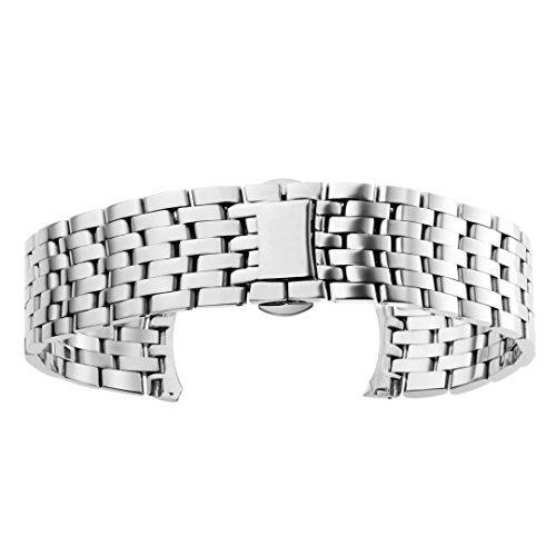 AUTULET Herren Edelstahl Uhrenarmband Silber 20mm