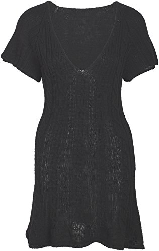 Damen Kleid V-Neck Zopfmuster Strickkleid Schwarz S (Lana Wolle Rock)