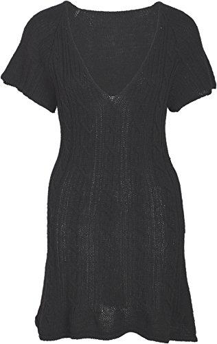 Damen Kleid V-Neck Zopfmuster Strickkleid Schwarz S (Lana Rock Wolle)