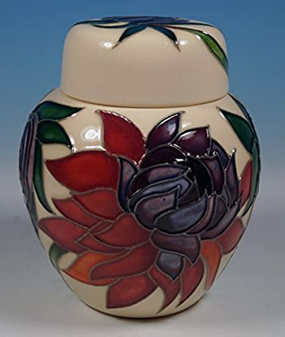 A MOORCROFT Ruby Red Flowers Ginger Jar Emma Bossons Shape 769/4 1st RRP £295